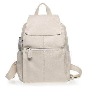 Beige leather backpack for women