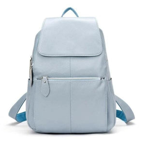 Light blue leather backpack for women
