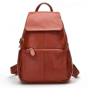 Brown leather backpack for women