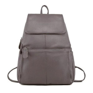 Gray leather backpack for women