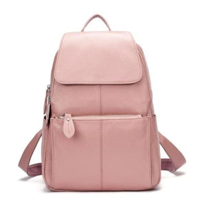 Pink leather backpack for women