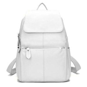 White leather backpack for women