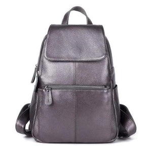 Silver leather backpack for women