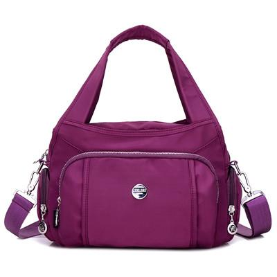 Purple crossbody nylon shoulder bag