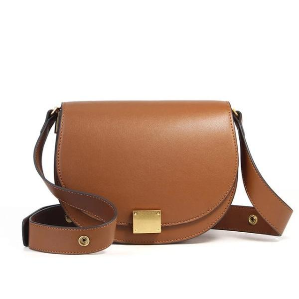 Brown leather crossbody bag semi-circle