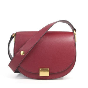 Red Leather crossbody bag semi-circle