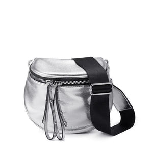 Silver leather crossbody bag