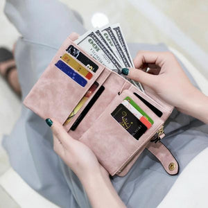 Pink small trifold wallet