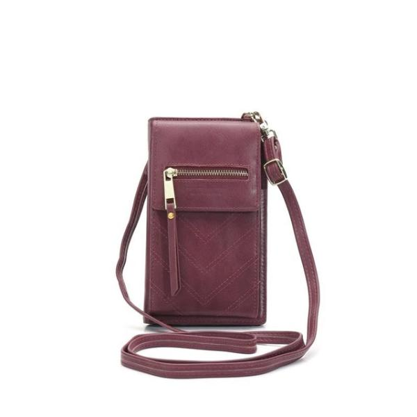 Wine red crossbody phone bag