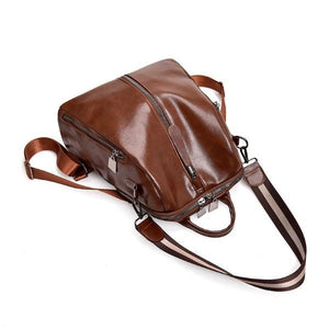 brown faux leather backpack purse
