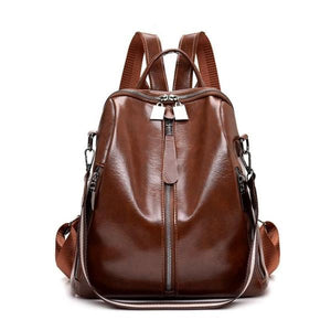 Brown vegan leather backpack purse with shoulder strap