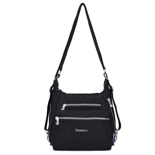 Convertible backpack crossbody bag women black