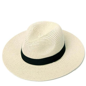 Beige women adjustable panama straw hat