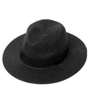 Black women adjustable panama straw hat