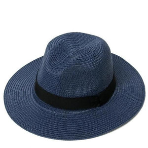 Blue women adjustable panama straw hat