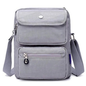 Grey crossbody nylon bag women