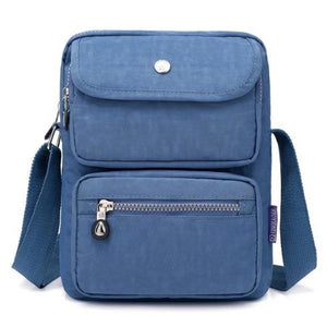 Grey blue crossbody nylon bag women