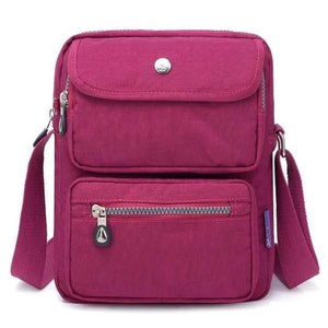 Purple red crossbody nylon bag women