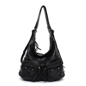 Black leather convertible backpack purse crossbody