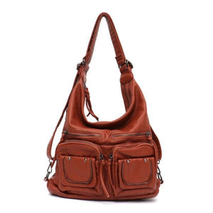 Brown leather convertible backpack purse crossbody