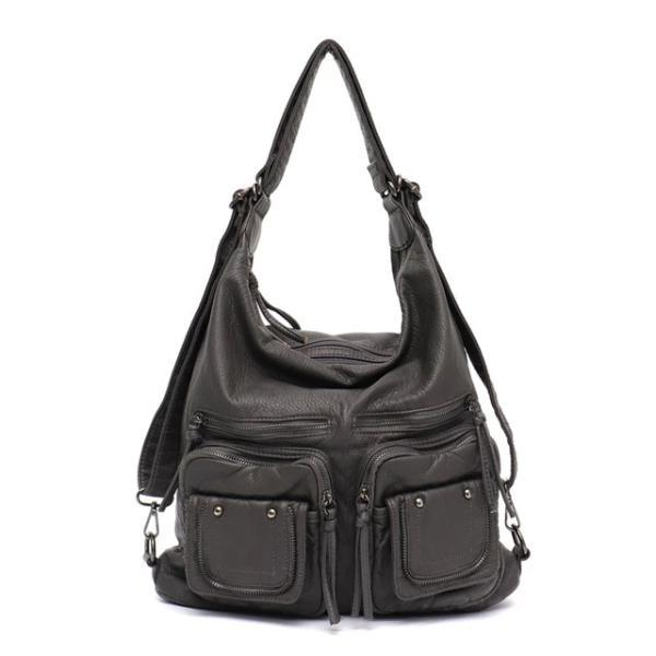 Gray leather convertible backpack purse crossbody