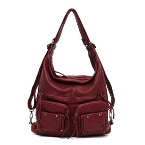 Red leather convertible backpack purse crossbody