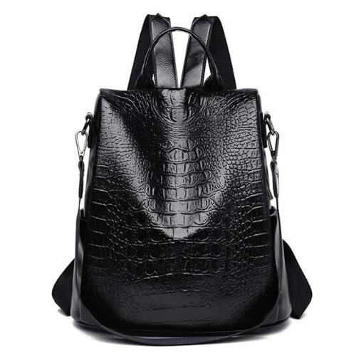 faux leather alligator backpack purse black