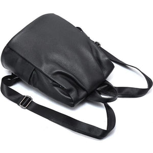 Black genuine leather backpack for women