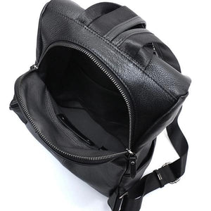 Black leather backpack with anti theft opening