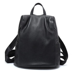 Black womens leather backpack anti theft