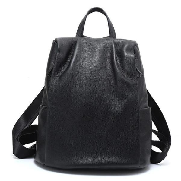 Black Genuine leather anti theft backpack for women
