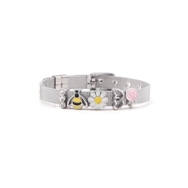 Love, apple, star and Paw design Stainless Steel Bracelet