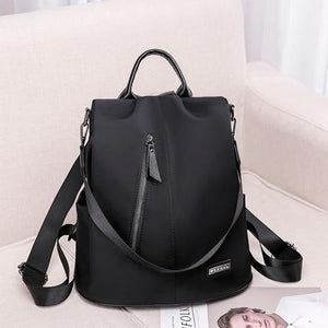 Nylon black convertible backpack purse anti theft