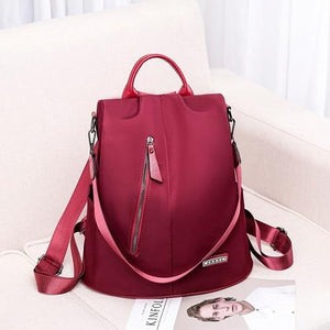 Red convertible nylon backpack purse anti theft