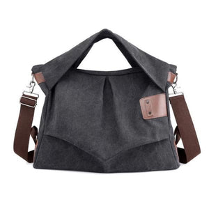 extra-large black canvas handbag