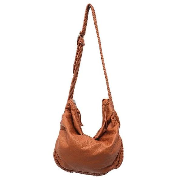 Brown vegan crossbody bag with woven leather strap