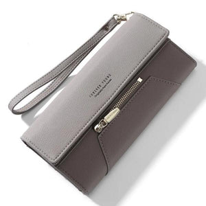 Gray cute leather wallet for women