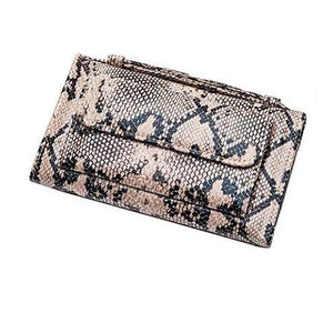 Brown and black snake skin wallet purse with handle