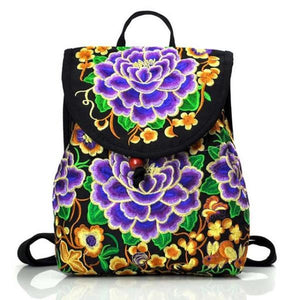 purple embroidery ethnic backpack