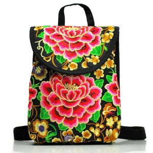 Big rose embroidery backpack Ethnic