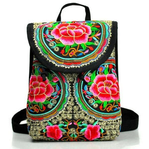 Rose embroidery backpack for women