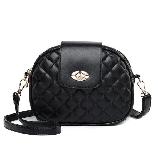 Black crossbody bag with triple zipper pocket