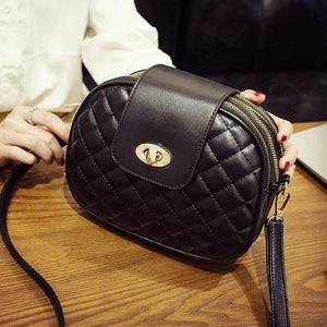 Cute black crossbody bag with triple zipper compartment