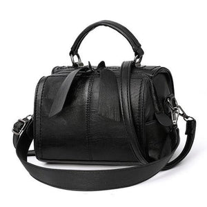 Black leather crossbody bag small barrel purse