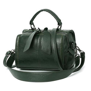 Green leather crossbody bag small barrel purse
