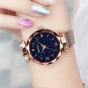 Gold watch with magnetic band for women