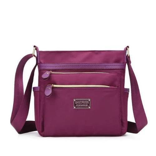 purple nylon crossbody purse women