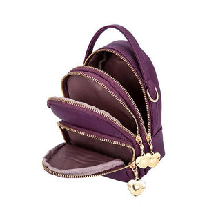 purple triple compartment cell phone purse