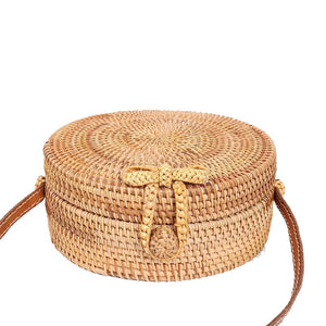 rattan circle bag with strap