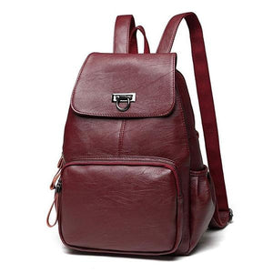Red wine leather backpack for women